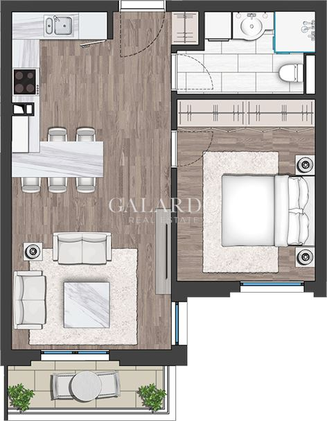 One-bedroom apartment in a gated complex