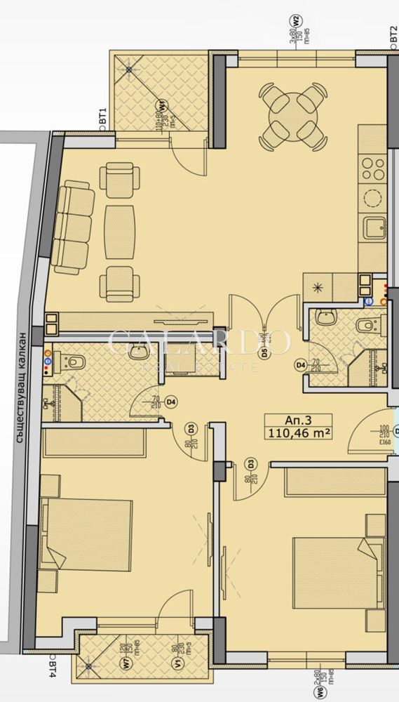 Two-bedroom apartment in a new building